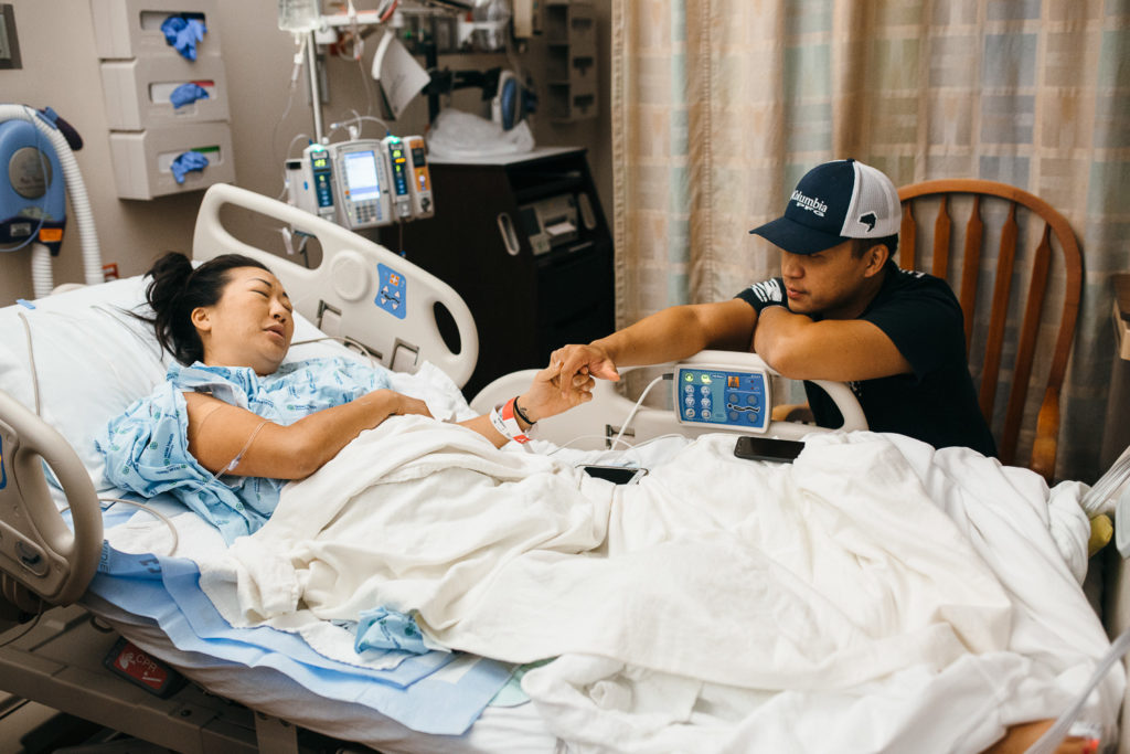 husband in wife in labor